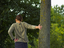 Streching avant de courir Photo libre de droits