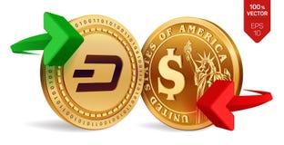 Streck till dollarvalutautbytet streck härlig vektor för myntdollarillustration Cryptocurrency Guld- mynt med streck- och dollars Stock Illustrationer