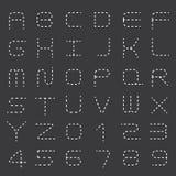 Streckad linje alfabetuppsättning Arkivbild