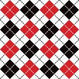 Streckade Argyle i rött, svartvitt Fotografering för Bildbyråer