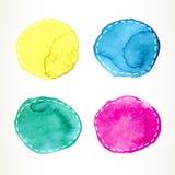 Streckade vattenfärgcirklar Arkivfoton