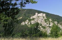Strecno废墟城堡 库存图片