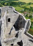 Strecno Caste - Tower. Ruins of the Strecno Castle situated near Strecno village in Zilina region, Slovakia. Strecno Castle is opened to public and it is Stock Photos