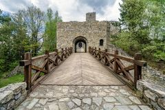 Strecno castle, Slovakia. Entrance gate into medieval Strecno castle, Slovakia stock photos