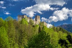 Strecno castle, Slovakia. Medieval Strecno castle in Slovakia. Clouds on sky at background royalty free stock images