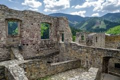 Strecno castle, Slovakia. Walls of medieval castle Strecno, Slovakia royalty free stock photos