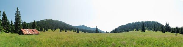 Stredna Poliana mountain meadov undet the summit of Velky Choc stock photos