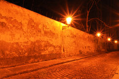 Stree under golden lamps in the night Royalty Free Stock Photos