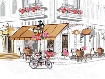 Streeet cafe. Background decorated with flowers, old town views and street cafe. Hand drawn Vector Illustration royalty free illustration