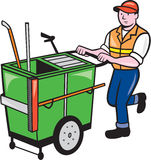 Streeet Cleaner Pushing Trolley Cartoon Isolated Royalty Free Stock Images