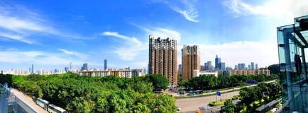 Streemeningen van het Shenzhenpanorama stock afbeelding