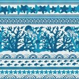 Streep naadloos patroon met overzeese onderwaterdieren stock illustratie