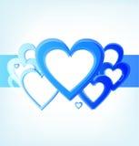 Streep van blauwe harten royalty-vrije illustratie