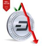 streepje Daling Rode pijl neer De classificatie van de streepjeindex daalt op uitwisselingsmarkt Crypto munt 3D isometrische Fysi Royalty-vrije Stock Foto