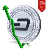 streepje De groei Groene pijl omhoog De classificatie van de streepjeindex gaat op uitwisselingsmarkt uit Crypto munt 3D isometri Royalty-vrije Stock Afbeelding