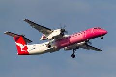 Streepje 8 van QantasLinkde havilland Canada dhc-8-402Q Q400 vh-QOH-vliegtuigen die een roze kleur tot steun van borstkanker char Stock Foto's