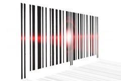Streepjescode die rode straal op witte achtergrond aftasten vector illustratie