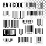 Streepjescode Vastgestelde Vector Prijsaftasten Productetiket Informatieupc Scanner Digitale lezer Identificatieteken royalty-vrije illustratie