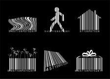 Streepjescodes over zwarte stock illustratie