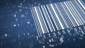 Streepjescodescanner door streepjescodelezer Close-up op serie van cijfers chaoscijfers Het animeren hexadecimale code als achter stock illustratie