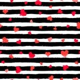 Streeppatroon Zwart-wit met Geschilderde Harten royalty-vrije illustratie