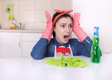 Streesed cleaning lady Royalty Free Stock Photography