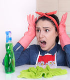 Streesed cleaning lady Royalty Free Stock Images