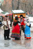 Street actors in Russian traditional costumes Stock Images