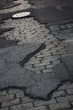 Street. Concrete stone bricks urban street asphalt perspective Royalty Free Stock Photo