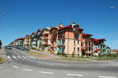 Street. Nice street with blocks of flats Royalty Free Stock Photography