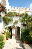 Street. Scene cyclades architecture with plants bougainvillea and flowers Stock Photography