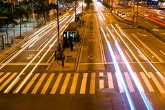 The street. A long exposure of cars on the street Stock Photography