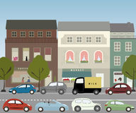 Street. Warm day in midtown - street with parked cars royalty free illustration