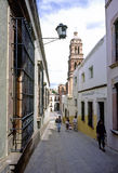 Street. Pedestrian walkway at zacatecas, in the background the tower of cathedral royalty free stock photos