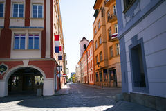 Street. Look at the intersection of streets in Czech Budejovice Royalty Free Stock Image