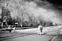 Street. Infrared image of a street royalty free stock photos
