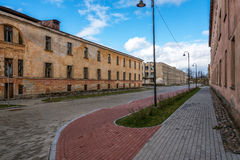 Street with abandoned houses Stock Photography