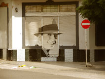 Street of Abasto town. Carlos Gardel graffiti, Buenos Aires, April 2013 Stock Image