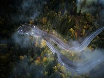 Street from above trough a misty forest at autumn, aerial view flying through the clouds with fog and trees Royalty Free Stock Images