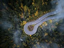 Street from above trough a misty forest at autumn, aerial view flying through the clouds with fog and trees Stock Photo