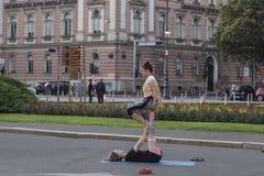 Street acrobats Royalty Free Stock Image