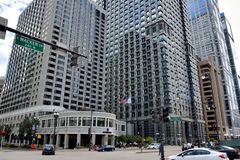 Street across and business buildings. Chicago city urban street view and business buildings. Photo taken in October 5th, 2014 Royalty Free Stock Photos
