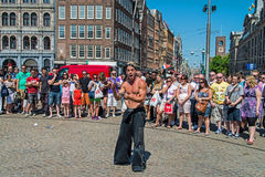 Street actor on the Dam Square Royalty Free Stock Photo