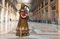Street actor dressed as a golden lady. Naples, Italy. Royalty Free Stock Images