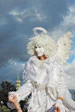 Street actor dressed like an angel poses for photos in Moscow Stock Image