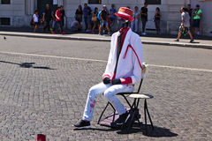 Street actor in the role of Invisible Man in Rome Stock Photo