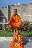 Street actors costumed as Indian Yogi Royalty Free Stock Images