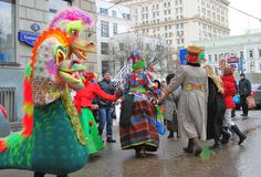 Street actors and ordinary people dance on the street. Royalty Free Stock Photography
