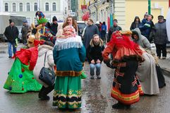 Street actors and ordinary people dance on the street. Royalty Free Stock Images