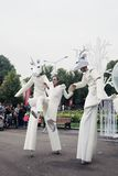 Street actors perform in Gorky recreation park in Moscow Stock Photos